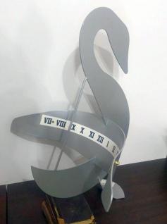 Sonnenuhr Schwan 500850 aus Stahl grau lackiert Ziffernblattstreifen als moderne Metallsonnenuhr 66cm