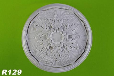 R129 Deckenrosette aus Polyurethan hartschaum mit glatter weißer Oberfläche 52cm