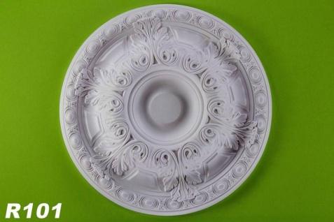 R101 Decken Stuckrosette aus Polyurethan Hartschaum mit weißer Oberfläche 61cm