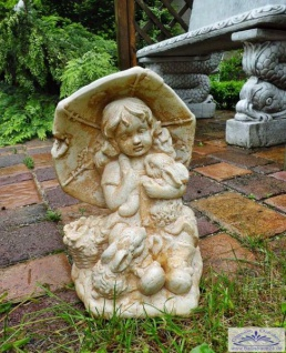 SA-N477 niedliche Kinder Gartenfigur Mädchen mit Schirm und Hase 30cm - Vorschau 4