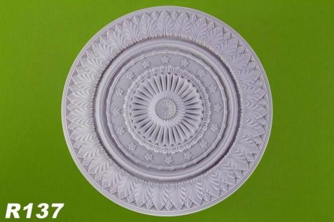 R137 Deckenrosette mit floren Stuckdekor aus Polyurethan Hartschaum mit weißer Oberfläche 67cm