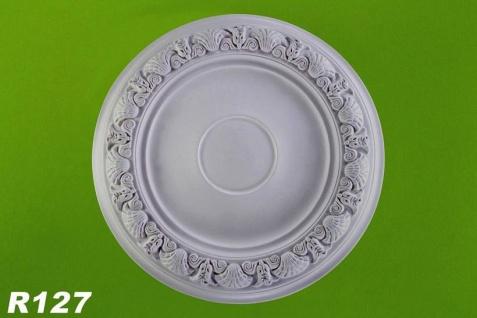 R127 Zierstuck Deckenrosette aus Polyurethan Hartschaum mit weißer Oberfläche 47cm
