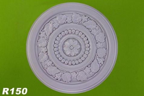 R150 Blattwerk Deckenrosette Zierstuck aus Polyurethan Hartschaum mit weißer Oberfläche 41cm