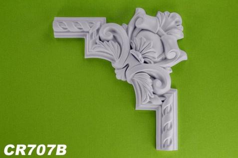 HX-CR707B Schmuck Eck Segment zur Flachleiste CR707 für Wand- und Deckenspiegel als Innenstuck Zierelement aus PU Hartschaum 273x273mm 1 Stück