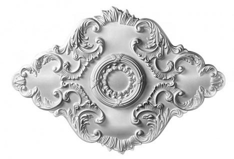B2023 Deckenrosette oval aus Polyurethan Hartschaum mit weißer Oberfläche 94x35cm