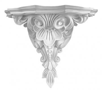 K5008 Florale Wandkonsole als schmuckvolle leichte Konsole aus Polyurethan Hartschaum 530x430mm