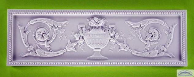 HX-W648 Wand Schmuckplatte mit Ziervase und Blumen Girlanden aus Polyurethane Hartschaum 994x307mm