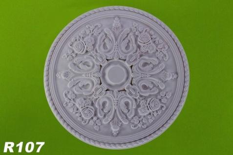 R107 Deckenrosette mit floralem Blattdesign als Stuckelement aus Polyurethan Hartschaum mit weißer Oberfläche 83cm