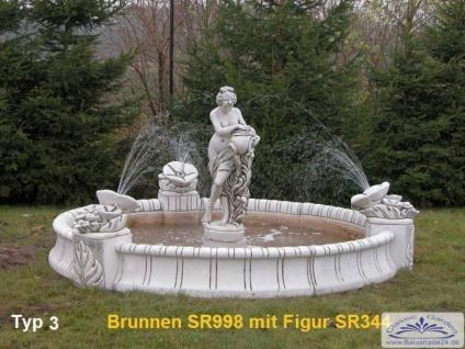 SR998 Großes Brunnenbecken 280cm Durchmesser mit 3 Blumenelementen Garten Springbrunnen wahlweise mit Figur - Vorschau 2