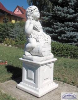 SRS201062 Gartenfigur Weingeist Bacchus auf Weinfass Skulptur Steinfigur Figur 69cm 72kg