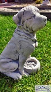 BD-7611 Gartenfigur Hund Figur Hundefigur mit Fressnapf 35cm 11kg