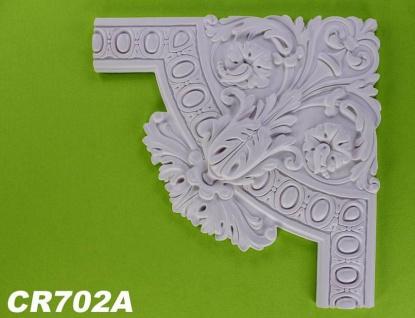 HX-CR702A Schmuck Eck Segmentbogen zur Flachleiste CR702 für Wand- und Deckenspiegel als Innenstuck Zierelement aus PU Hartschaum 385x385mm 1 Stück