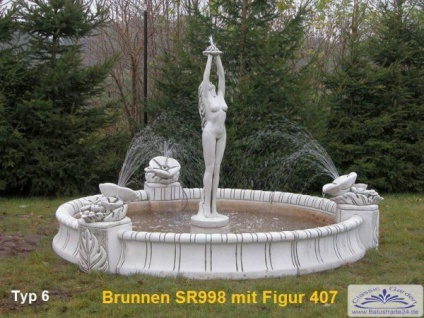 SR998 Großes Brunnenbecken 280cm Durchmesser mit 3 Blumenelementen Garten Springbrunnen wahlweise mit Figur - Vorschau 5