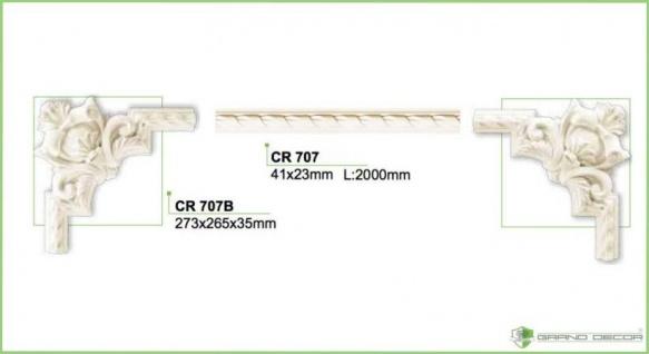 HX-CR705B Schmuck Eck Segment zur Flachleiste CR705 als Wand Decken Zierelement 350x290mm 1 Stück - Vorschau 2