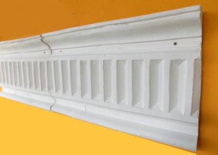 BD-9051 Stuck Wandfries als Fassadenstuck Zahnkamm Schmuckplatte aus weissem Beton aus der Serie rustikaler Gipsstuck 50cm