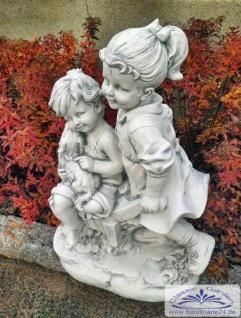 BD-1519 Gartenfigur Figurengruppe Kinder mit Hund auf Schubkarre Geschwisterpaar Junge Mädchen 79cm 90kg - Vorschau 5