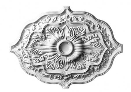 B2016 Deckenrosette oval aus Polyurethan Hartschaum mit weißer Oberfläche 91x66cm