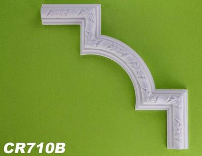 HX-CR710B Schmuck Eck Segmentbogen zur Flachleiste CR710 für Wand- und Deckenspiegel als Innenstuck Zierelement aus PU Hartschaum 275x275mm 1 Stück