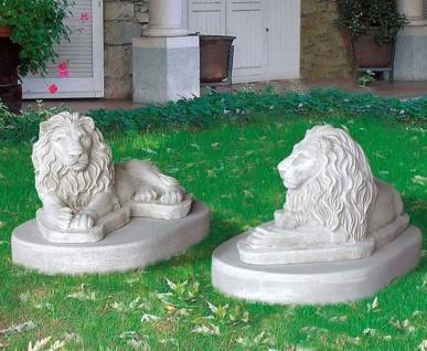 BD-10151 Löwenpaar Gartenfiguren Löwenfiguren links rechts Löwen Beton Steinguss Figuren 36x70cm 122kg