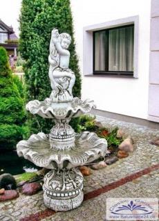 SR759 Gartenbrunnen mit Putten Figur mit Fisch im Arm als Wasserspeier 166cm 288kg
