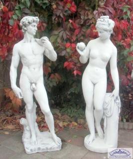 S178 S185 Gartenfigur Eva mit Apfel in der Hand mit David von Michelangelo Skulptur Steinfiguren