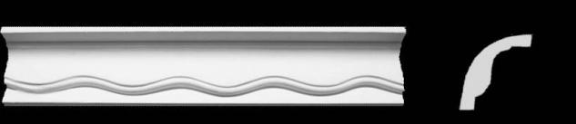 Eckprofil C-9 Gipsstuck 67x51mm Stuckleiste Gips Stuck mit Wellendekor 350cm