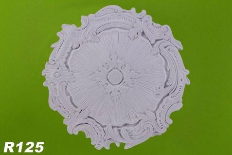 R125 Grosse Deckenrosette aus Polyurethan Hartschaum mit glatter weißer Oberfläche 43cm