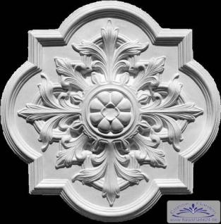 R-17 markantes Deckenelement mit Akanthusblatt Ornamenten als Deckenrosette aus Gips Stuck 79x76cm