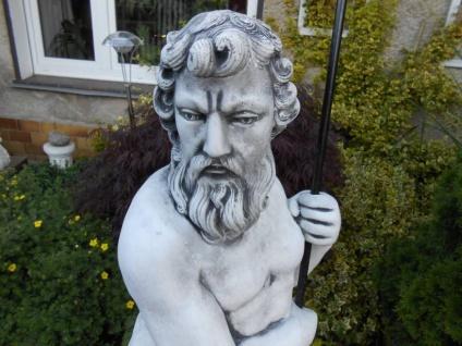 SR388 Gartenfigur Grosser Neptun Statue mit Dreizack aus Metall 123cm 98kg - Vorschau 2