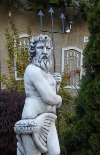 SR388 Gartenfigur Grosser Neptun Statue mit Dreizack aus Metall 123cm 98kg