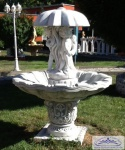 KP-0602-3 Garten Springbrunnen als Standbrunnen mit Wasserschale und Regenschirm Figur 150cm 380kg