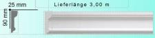 LP-22 90x25mm Stuckleiste als flache Decken Eckleiste aus Gipsstuck Profil 290cm