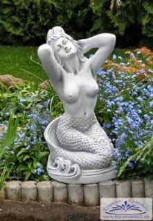 S101063 Gartenfigur Meerjungfrau Skulptur Nixe Beton Steinguss Figur als Steinfigur 57cm 38kg