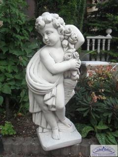 KP-0205 Rosenputte Gartenfigur Putte mit Blumenranke Parkfigur 70cm 33kg