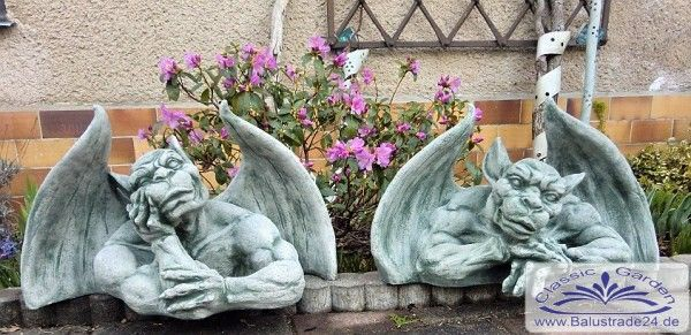 SA-N1417-1418 Gargoyle Paar mit Flügel Mauerwächter Gargoyle Drachen