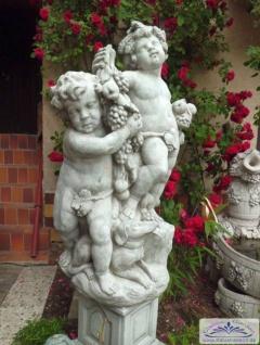 CG Gartenfigur Der Erntereigen Doppel-Statue Figurengruppe mit 2 Putten und Wein 125cm 300kg