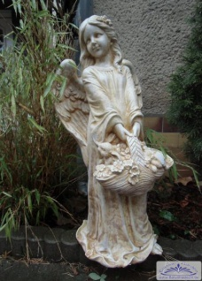 BAD-7213 Engel Gartenfigur mit Blumenkorb in der Hand Steinfigur massiver Beton Steinguss 63cm 24kg