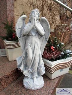 BAD-1556 Gartenfigur betender Engel im Blumenkleid Engelfigur Beton Steinguss Figur als massive Steinfigur 75cm