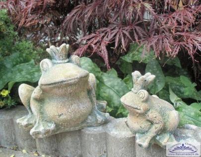 Froschkönig Figuren als kleine Gartendeko Steinfiguren 16cm und 11cm hoch