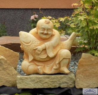 Feng Shui Gartenfigur Buddha der Weisheit Figur mit Fisch 33cm 18kg
