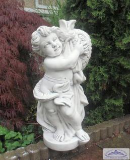 KP-10040 Putten Gartenfigur mit Fisch als Brunnen Wasserspeier Figur 63cm 43kg