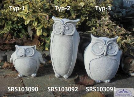 S103090 Eulen Figuren als kleine Gartendekofiguren als massive Steinfiguren als Set oder Eule Einzelfigur