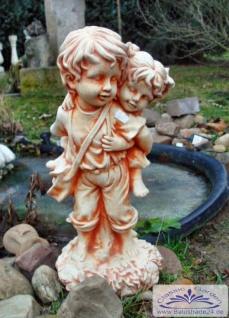 SA-N471 Gartenfigur Huckepack Kinderfigur Gartendeko Junge mit Mädchen 50cm 14kg