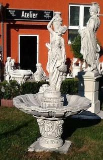 BAD-KP7130 Gartenbrunnen mit Figur Wasserträgerin als Garten Springbrunnen aus Beton Steinguss 215cm 449kg