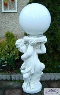 BD-1517 Gartenfigur Putte Parkfigur mit Platte für Pflanzgefäß oder Kugelleuchte 58cm 30kg