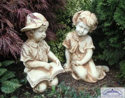 BAD-1537 BAD-1538 Lustige Kinderfiguren Mädchen und Junge mit Buch Gartenfiguren aus Beton Steinguss 46cm 62kg