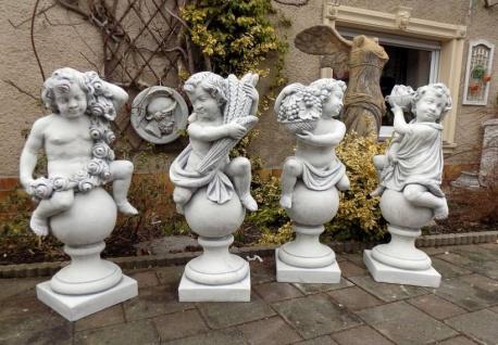 BD-10153 Vier Jahreszeiten Putten Steinfiguren auf Kugel Gartenfiguren Frühling Sommer Herbst Winter 104cm 439kg