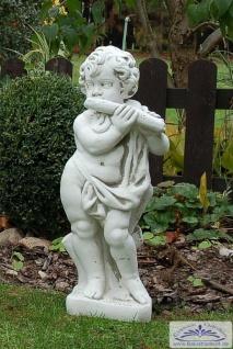 SR284 Gartenfigur Putte Musikant musizierd mit Blockflöte 70cm 35kg