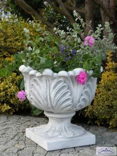 S104013 Pflanzschale rund mit stilisierten Blattmotiven verziert Balkon Blumenschale Beton Steinguss Blumenkübel 51cm 67kg