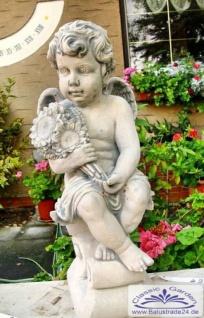 BAD-4107 Gartenfigur Engel im Sommertraum Gartendekoration mit Blumen beton Steinguss Figur 58cm 23kg